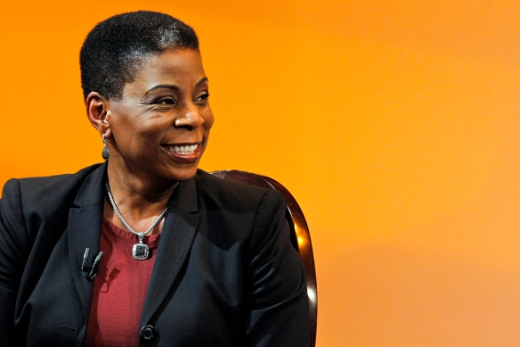 Burns, Chairman and CEO of Xerox smiles when she attends an interview at The Times Center in New York